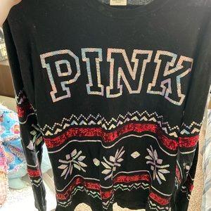 Pink holiday varsity jersey.
